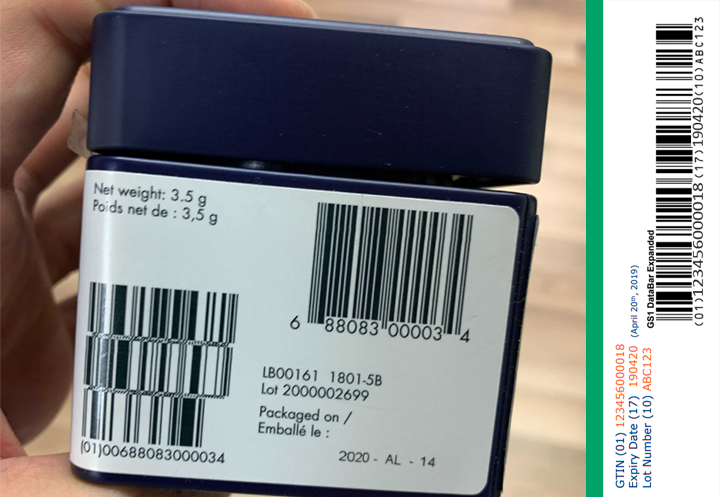 Lot number barcodes
